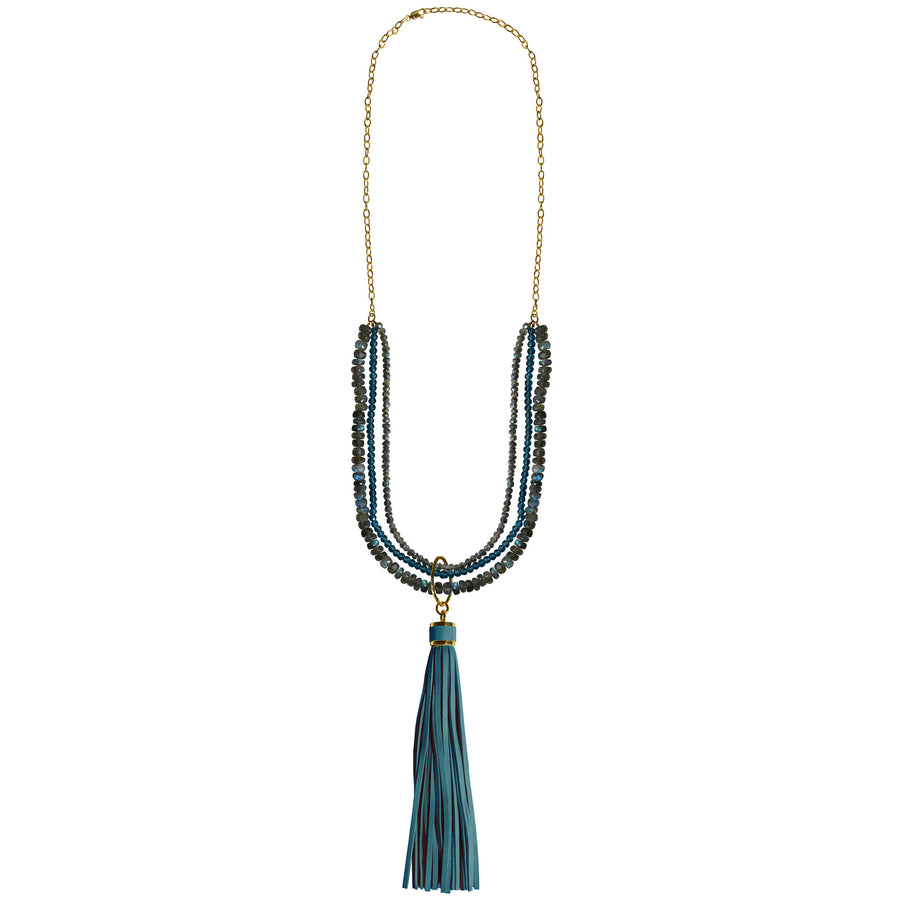 labradorite blue topaz removable blue leather tassel necklace