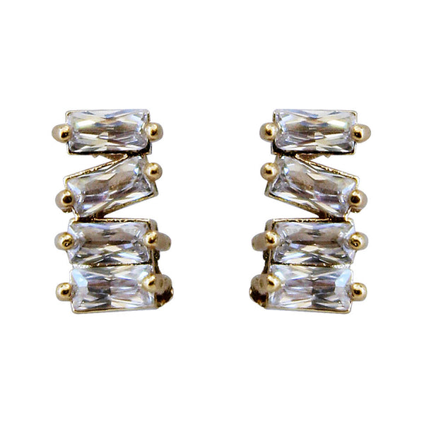 asymmetrical CZ baguette bar stud post backing earrings, 14k gold filled
