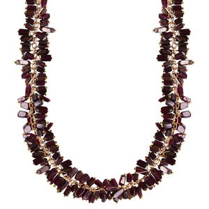 garnet cluster choker necklace, gold chain, Penny