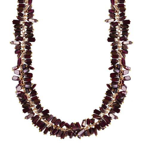 gold choker necklace garnet cluster chain