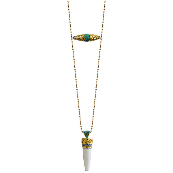 long gold necklace Nepal bead turquoise horn spike