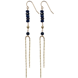 gold faceted ball chain semi precious london blue topaz long drop earrings