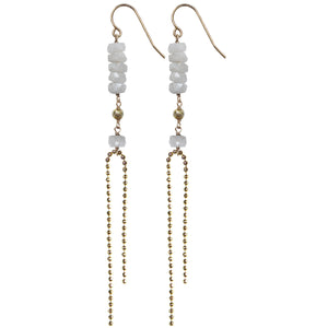 gold faceted ball chain semi precious white sapphire pyrite long drop earrings