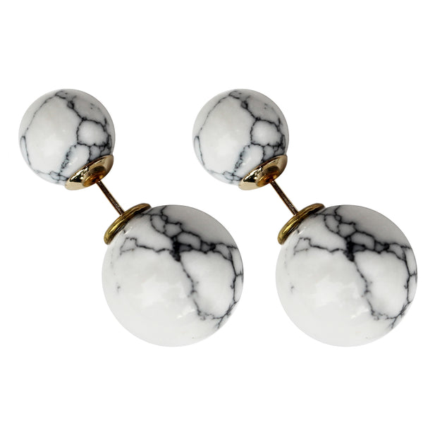 white marble double ball stud earrings gold