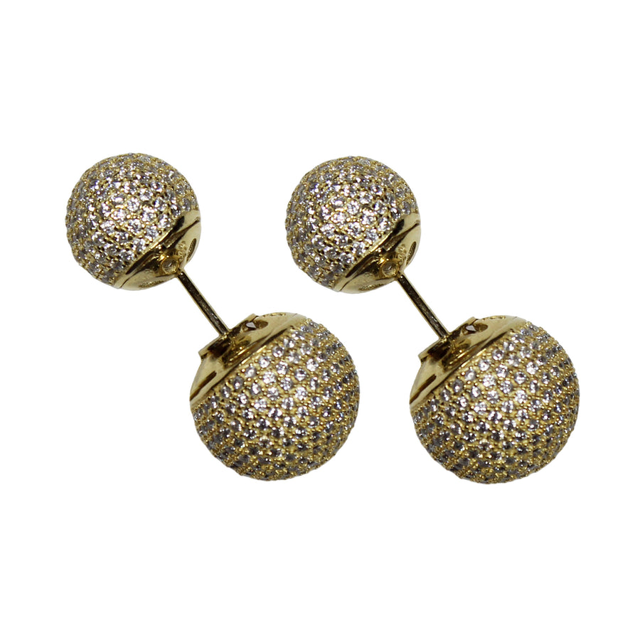 gold micro pave CZ double ball earrings