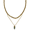 gold choker necklace gold pyrite labradorite pendant