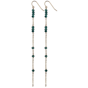 gold chain london blue topaz long drop earrings