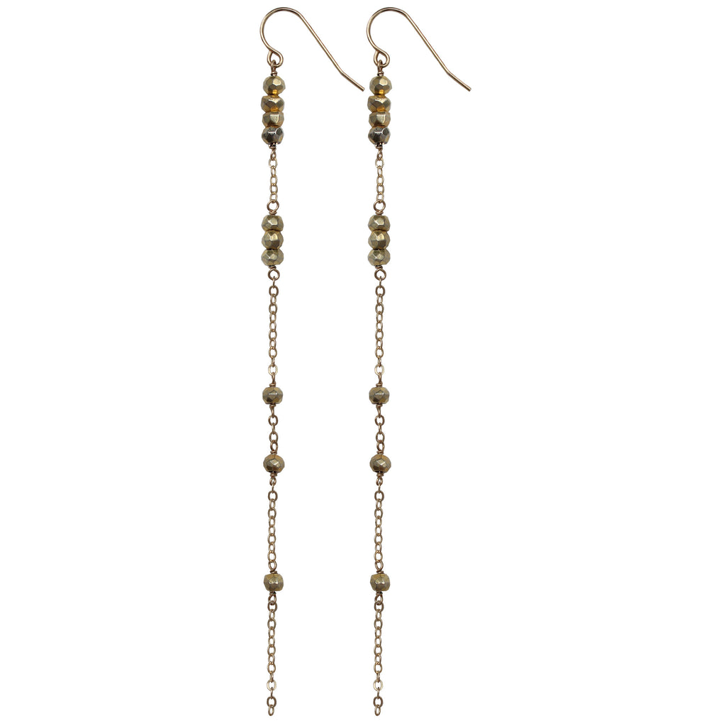 gold chain gold pyrite long drop earrings