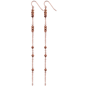 rose gold chain rose gold pyrite long drop earrings