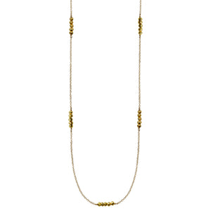 long gold chain faceted gold pyrite necklace