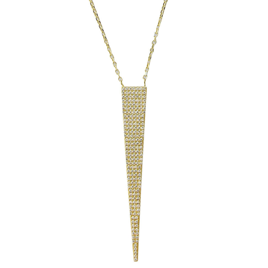 narrow CZ pave' pendant, gold, long, spike, delicate