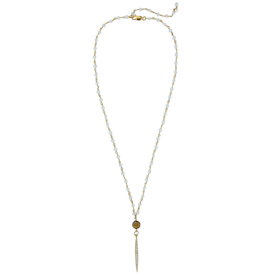 moonstone chain with whisky quartz, CZ spike, pave, 14k gold filled chain, delicate spike, long spike
