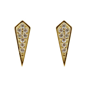CZ pave kite stud earrings, gold, posts,