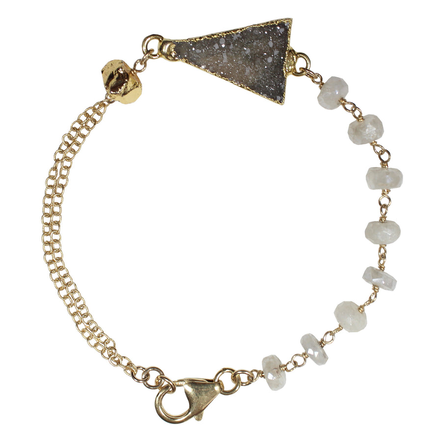 gold white sapphire beaded chain druzy triangle bracelet