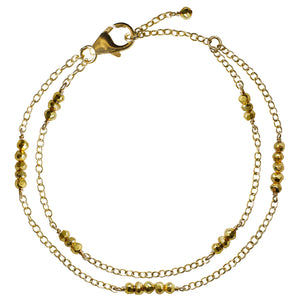 double gold chain gold pyrite bracelet