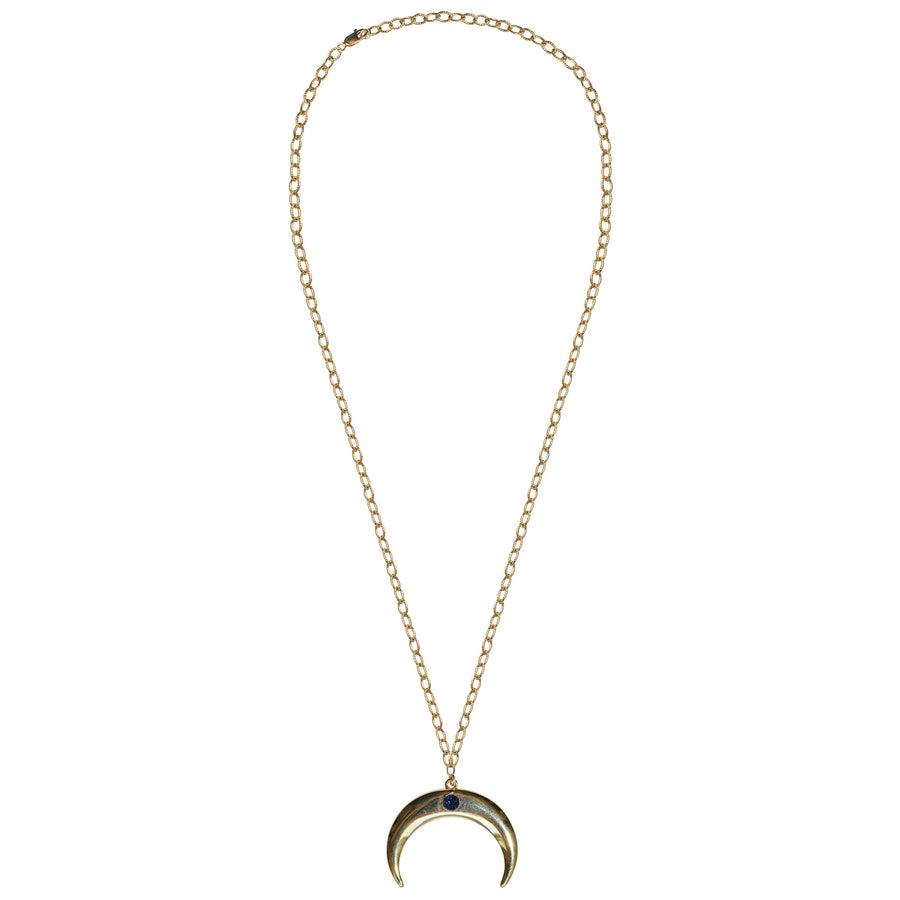 gold chain gold crescent blue mystic druzy necklace