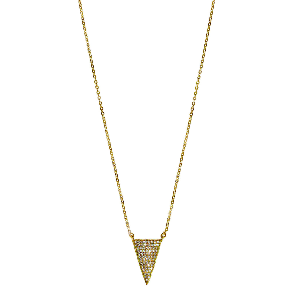 gold  CZ pave' triangle necklace