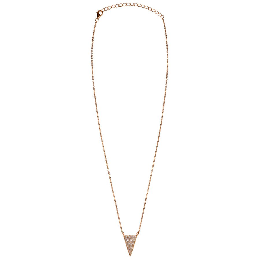 rose gold CZ pave' triangle necklace