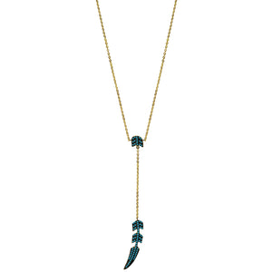 gold turquoise CZ pave' feather necklace