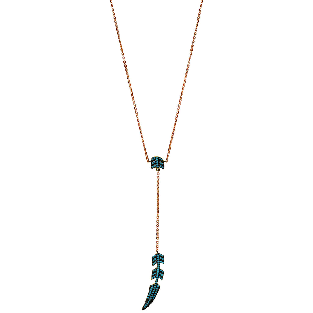rose gold turquoise CZ pave feather necklace