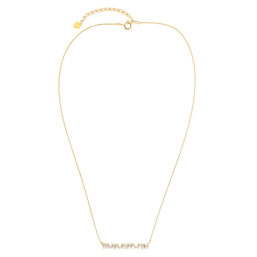 asymmetrical CZ baguette bar necklace, 14k gold filled chain