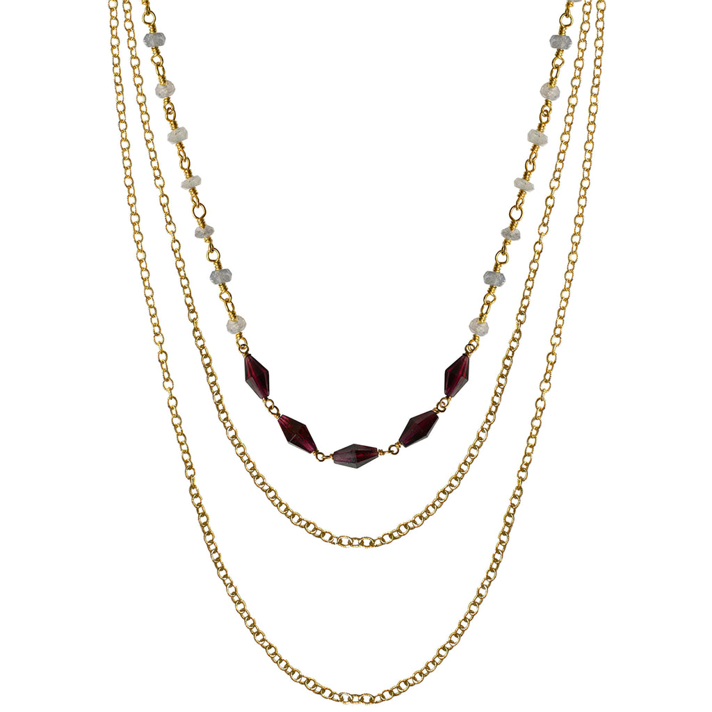 gold layer choker garnet labradorite necklace