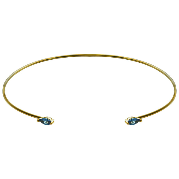 delicate gold cuff blue crystal bracelet
