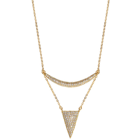 gold CZ pavé triangle curved bar moon necklace, delicate 16