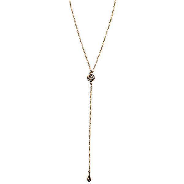 gold lariat necklace CZ disc pyrite drop