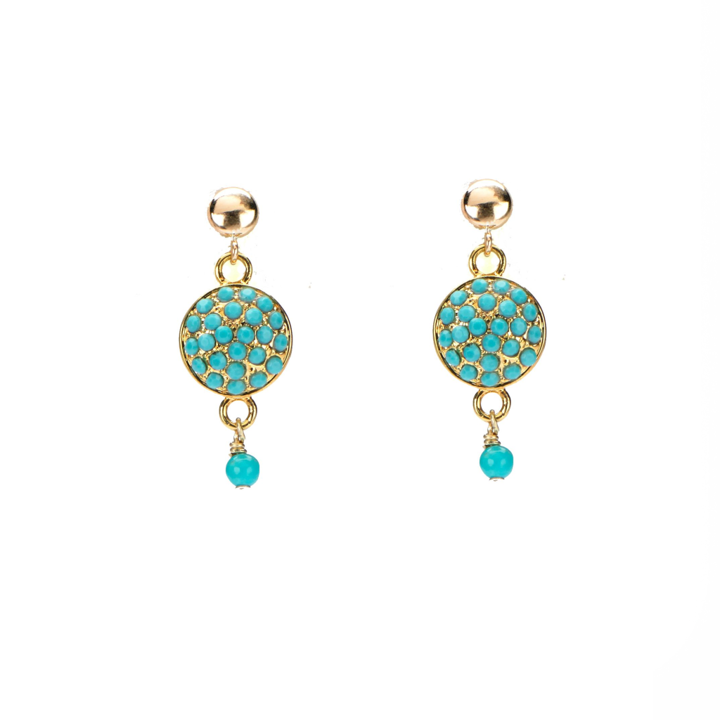 gold turquoise CZ pave' studs earrings