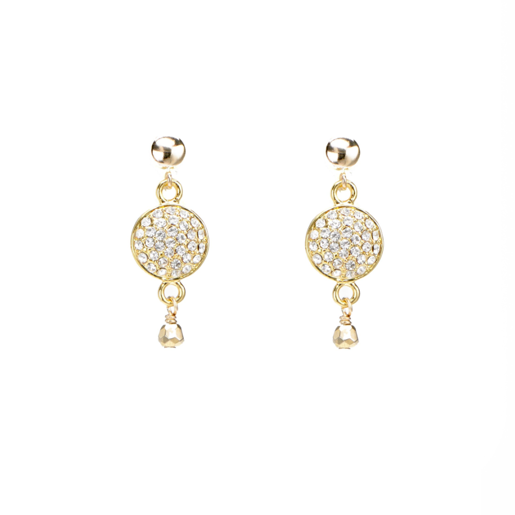 gold CZ pave' studs earrings