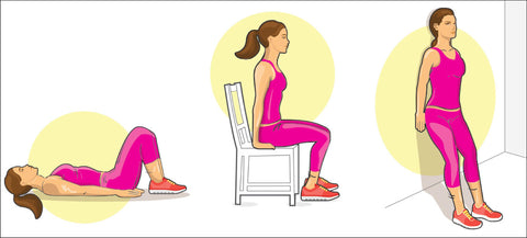 Three positions for Kegel exercise