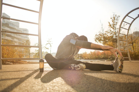 Man stretching before workout