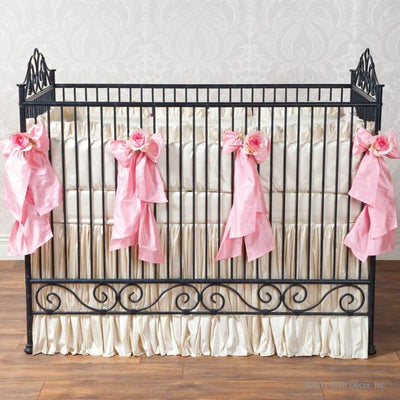 Celine in Pink Baby Bedding Set-Crib Bedding Set-Faux Silk Dupioni-Olena Boyko Baby Bedding