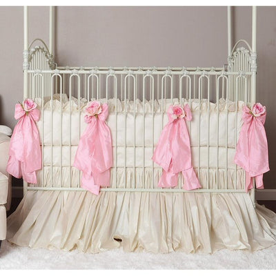 Celine in Pink Baby Bedding Set-Crib Bedding Set-Silk Dupioni-Olena Boyko Baby Bedding