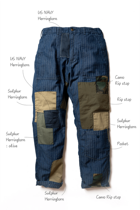 WW572J(HB2R) World Worker Indigo Herringborn in Wash labo