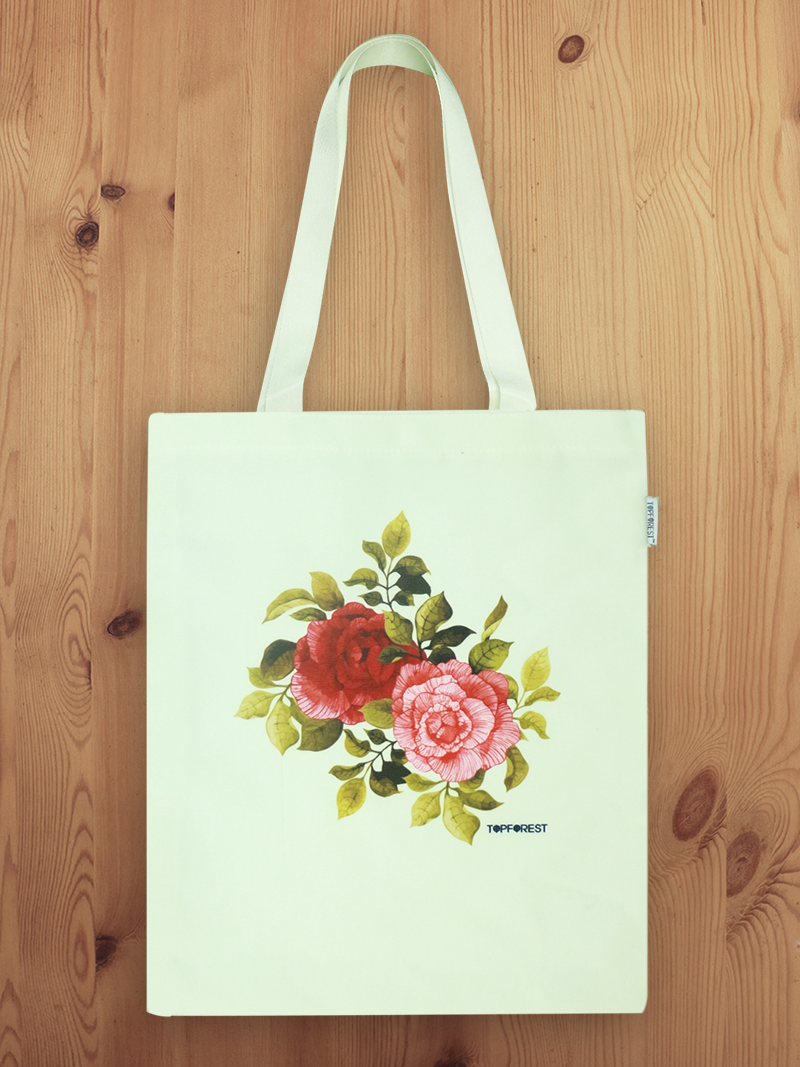 White Canvas Rose Tote Bag B07049