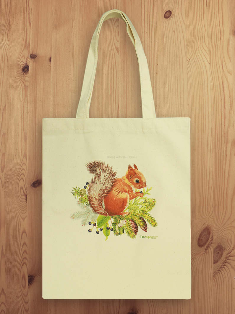 Cotton Canvas Squirrel Tote Bag B07029