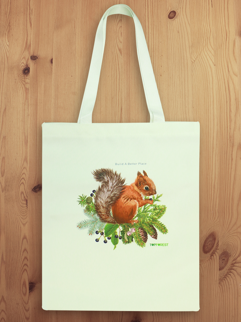 White Cotton Canvas Squirrel Tote Bag B07019