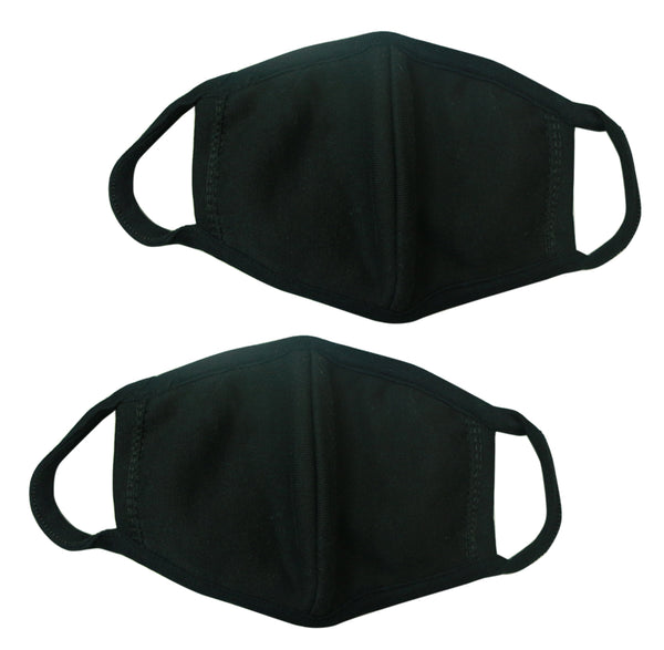 3D Cloth Mouth Masks for Men Women  - Black 2 Pieces M06020