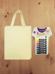 1 Set for 2 Cotton bag and Water-resistant Drawing Pen