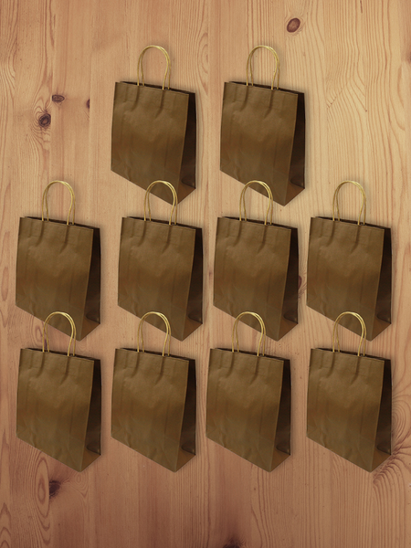 3D Eco-Paper Brown Small Bag 10pcs SPB005