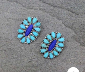 Turquoise post cluster earrings