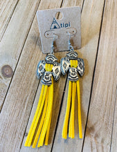 Load image into Gallery viewer, Yellow fringe thunderbird earrings