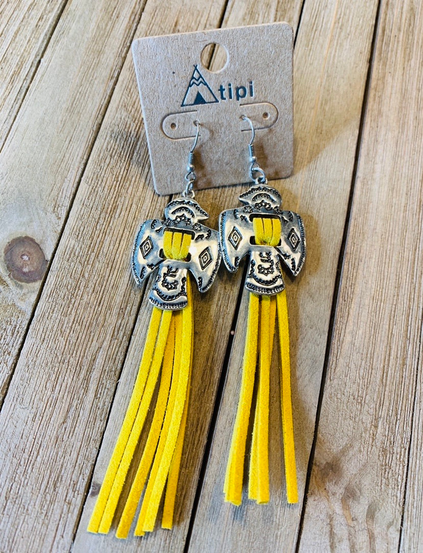 Yellow fringe thunderbird earrings