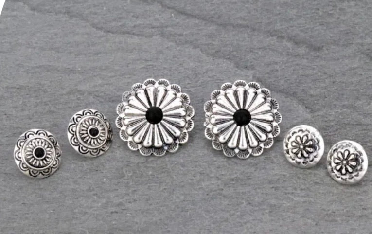 Silver and black concho earring set
