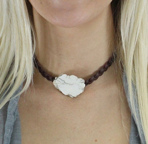 White slab choker necklace