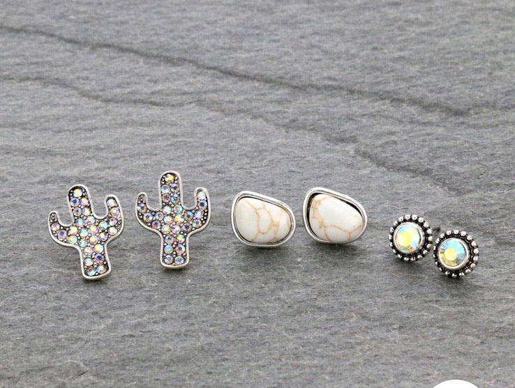 White cactus earring set