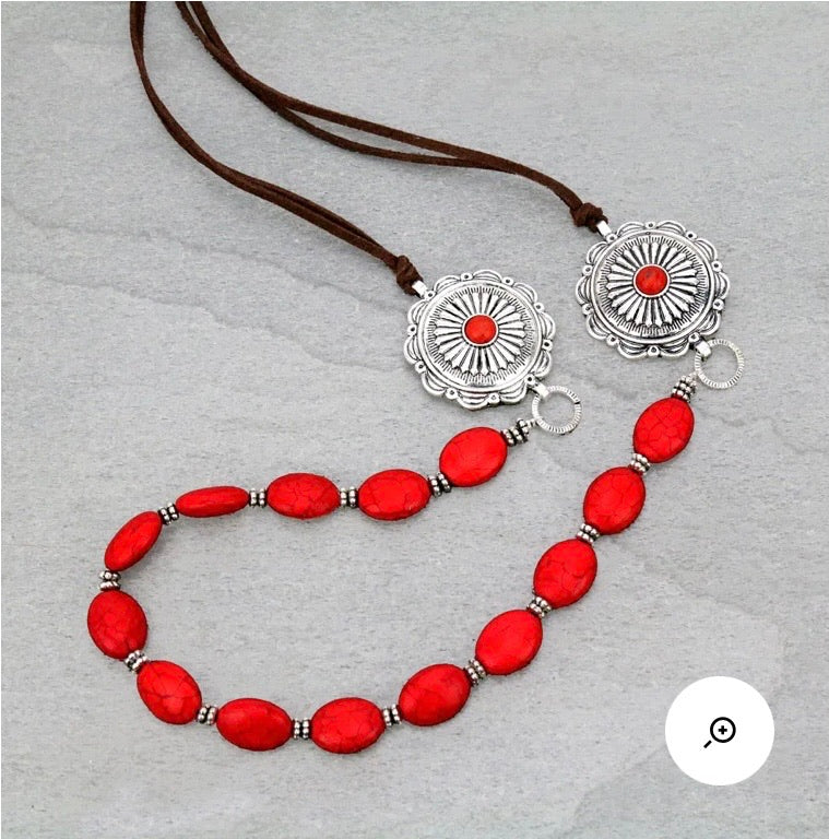 Red concho necklace