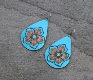 Turquoise leather tooled flower earrings